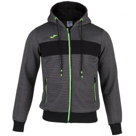 CHAQUETA JOMA HOODED JACKET MELANGE-BLACK-FLUOR GREEN
